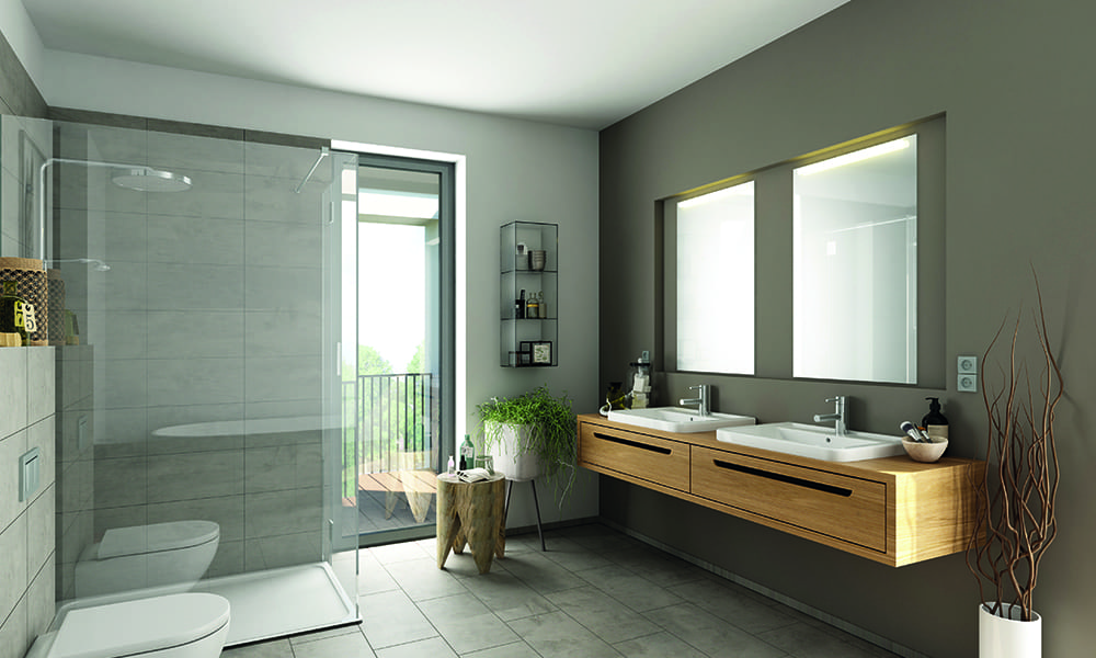 Badezimmer mit doppeltem Waschbecken