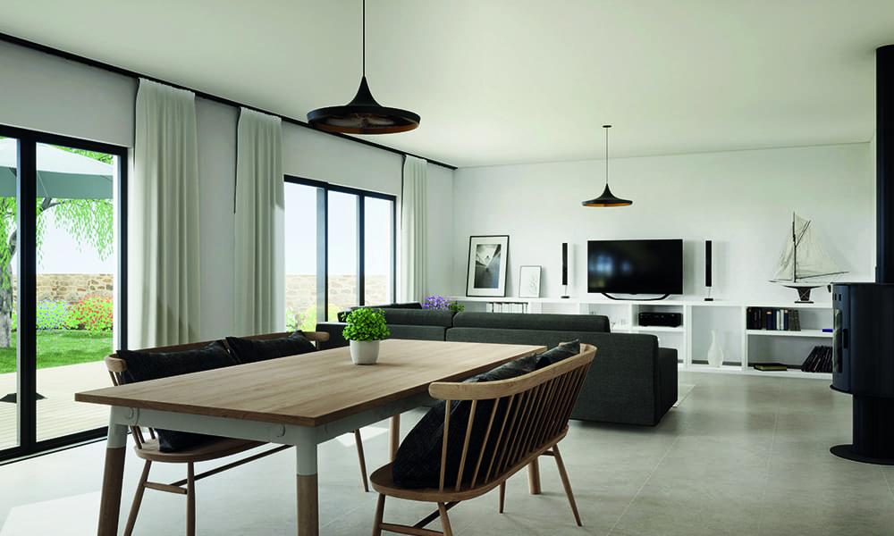 Ein Wohn- und Esszimmer in einem Raum